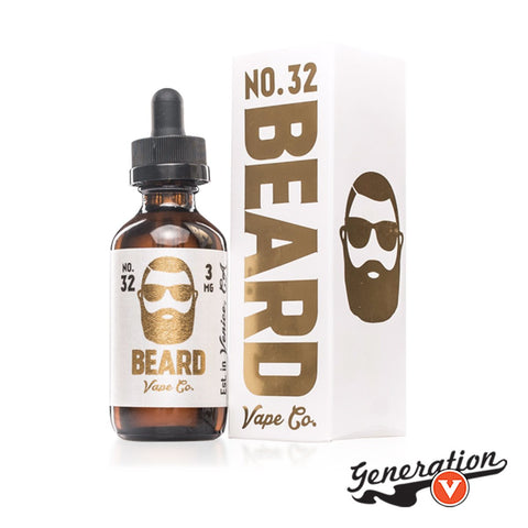 No. 32 E-Liquid by Beard Vape Co. tastes reminiscent of a cinnamon sugar funnel cake.