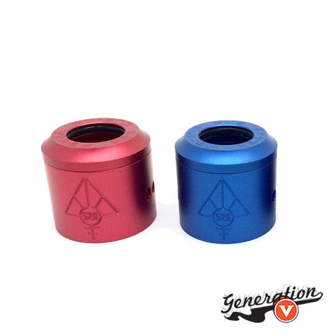 Aluminum GOON 1.5 Colored RDA Caps by 528 Custom Vapes in red, blue, green and purple.