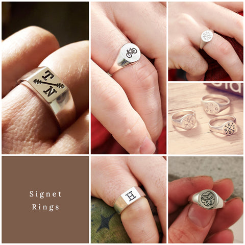 Personalised mens signet rings scarlett jewellery