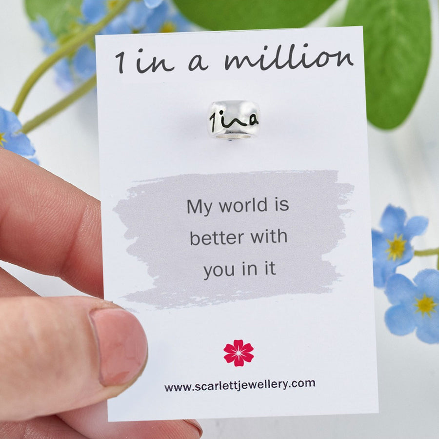 one in a million thank you gift silver charm Scarlett Jewellery