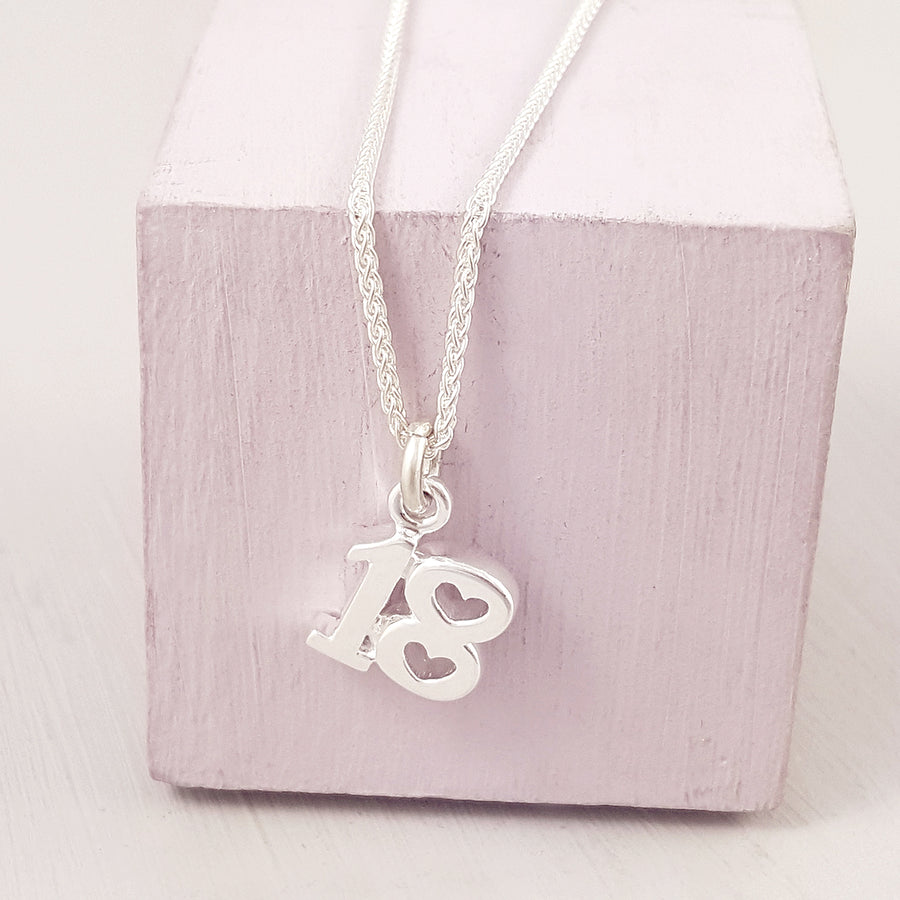 18th birthday charm for necklace with heart shaped detail