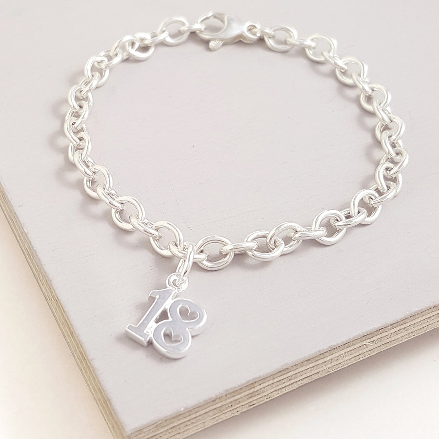 18th birthday charm for bracelet with heart shaped detail