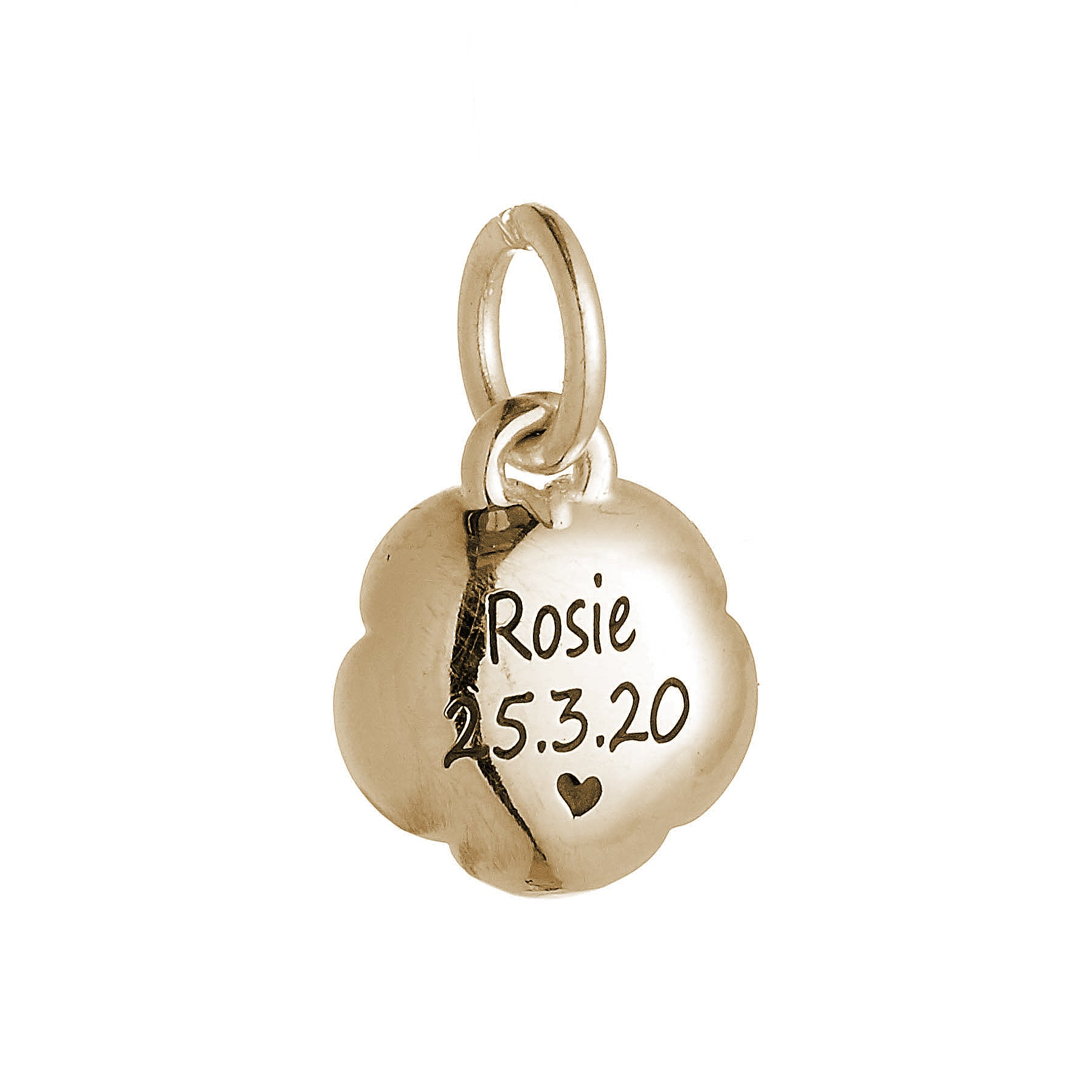 Rose Flower Personalised Solid Gold Charm
