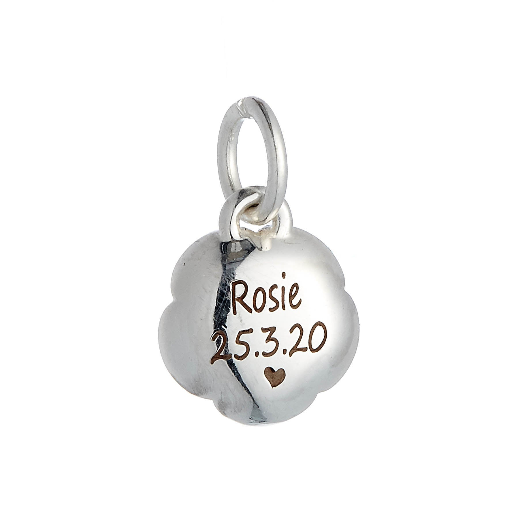 Rose Flower Personalised  Silver Charm