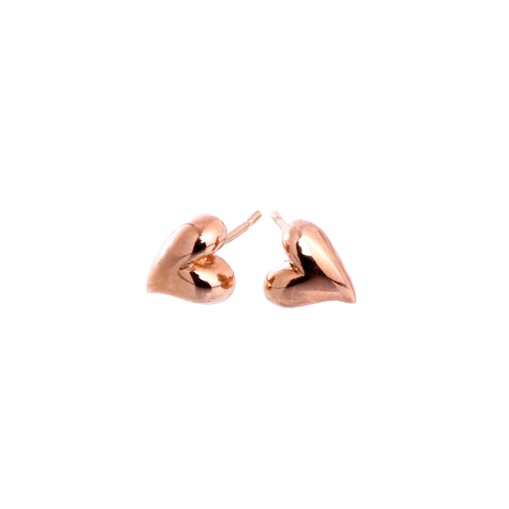 Simply Heart Solid Rose Gold Stud Earrings