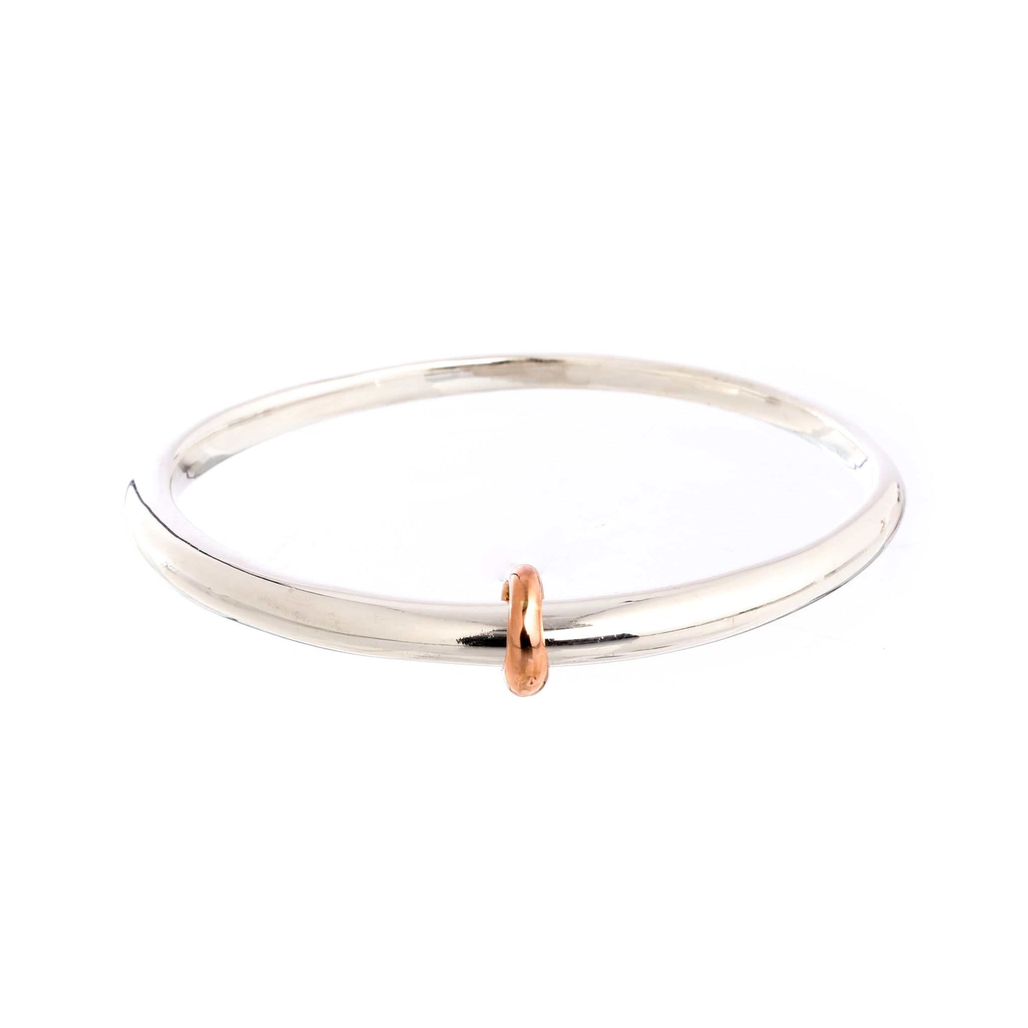 Eclipse Silver Oval Bangle With Gold Loop