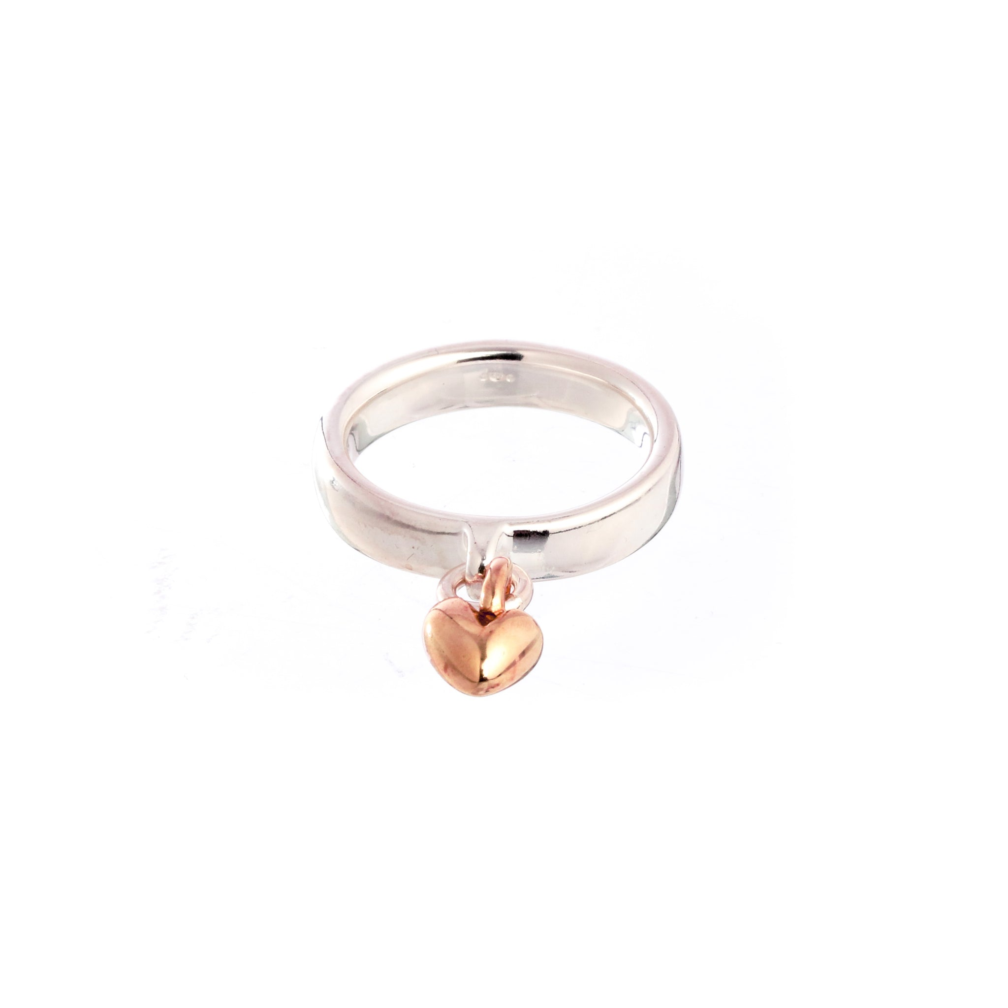 Sweetheart Silver & Rose Gold Charm Ring