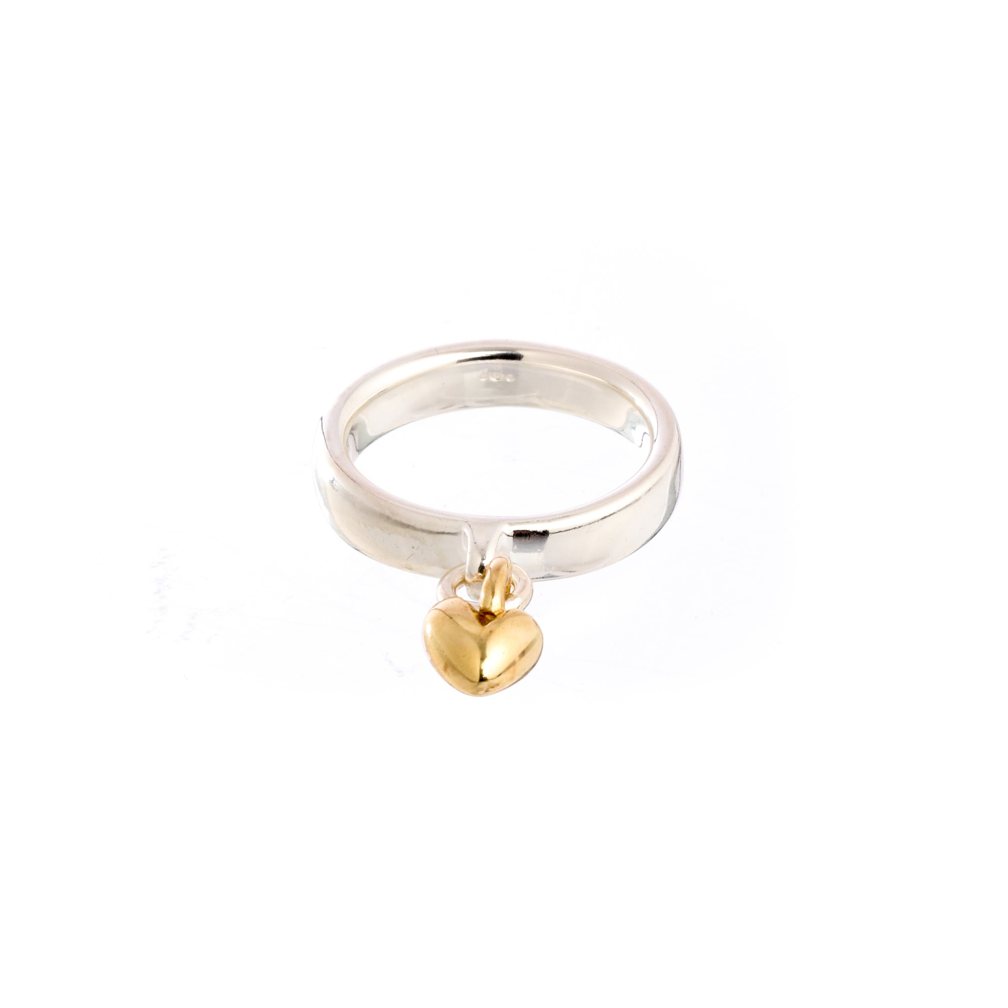 Sweetheart Silver & Gold Charm Ring