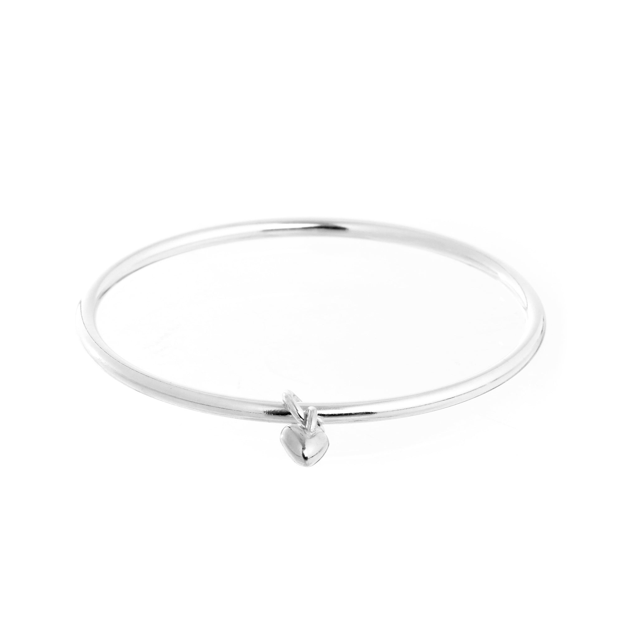 Sweetheart Silver Heart Charm Bangle