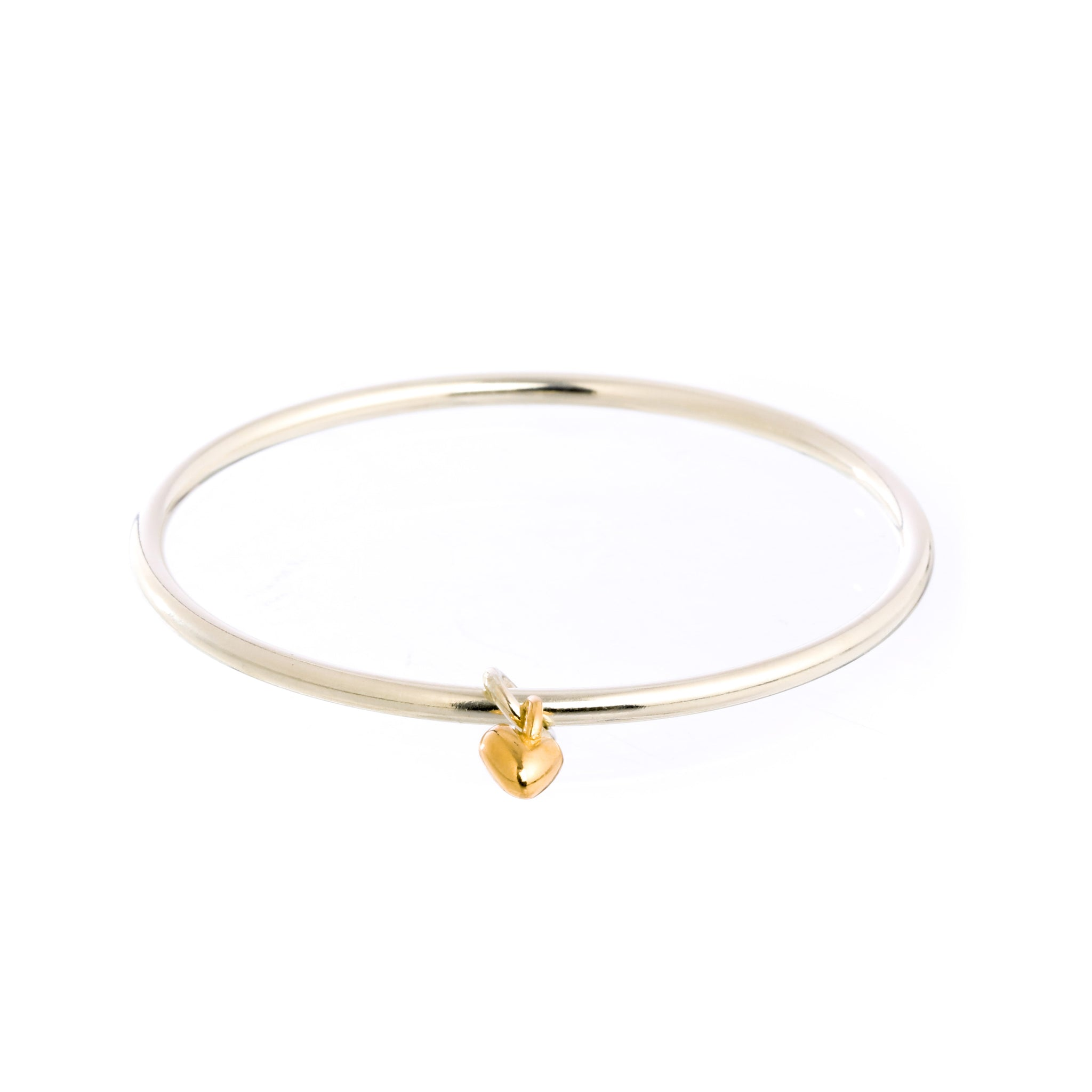 Sweetheart Silver & Gold Heart Charm Bangle