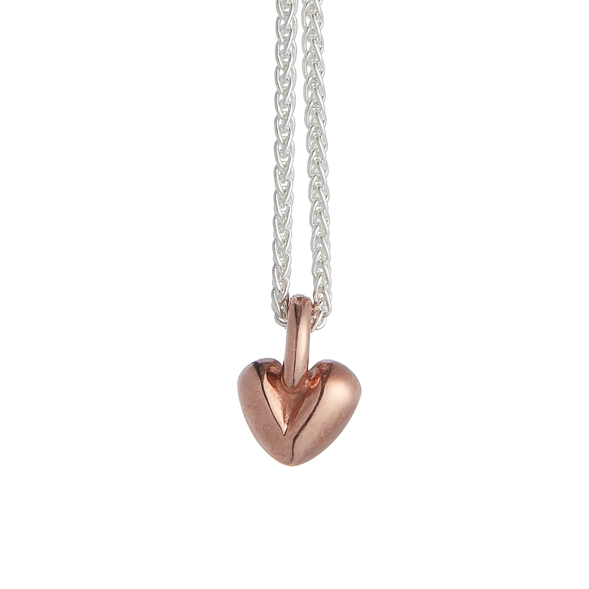 Sweetheart Silver & Solid Rose Gold Necklace