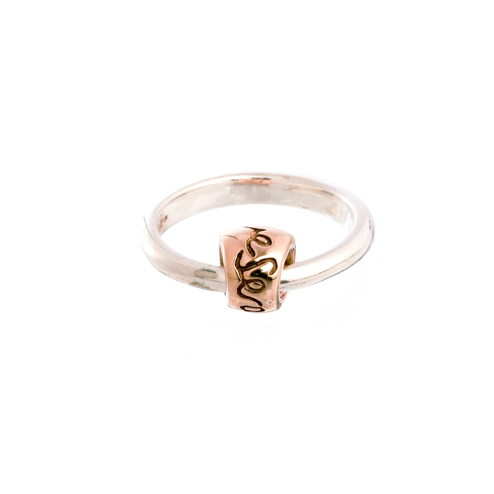 Que Sera Silver & Rose Gold Charm Ring