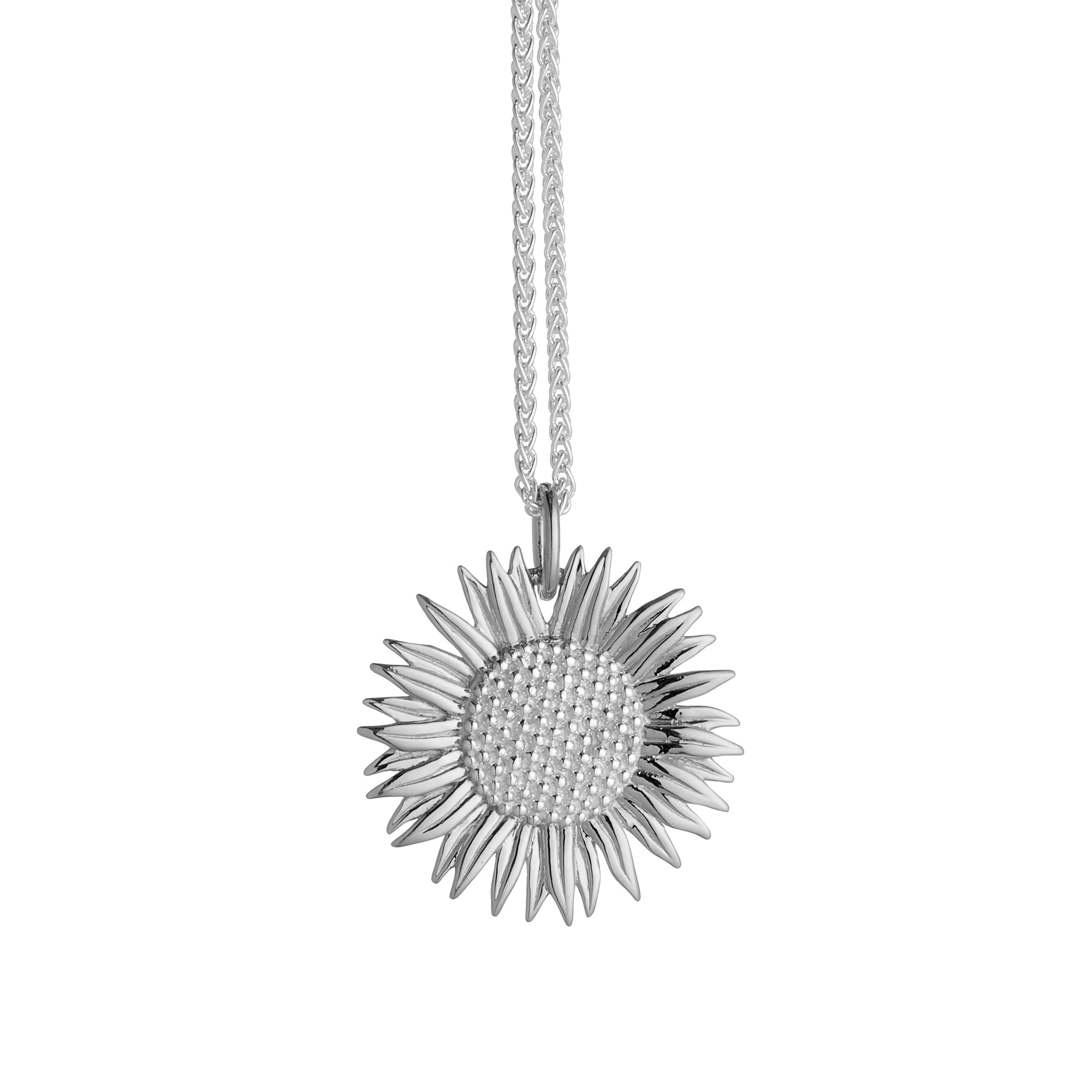 Sunflower Large Silver Necklace