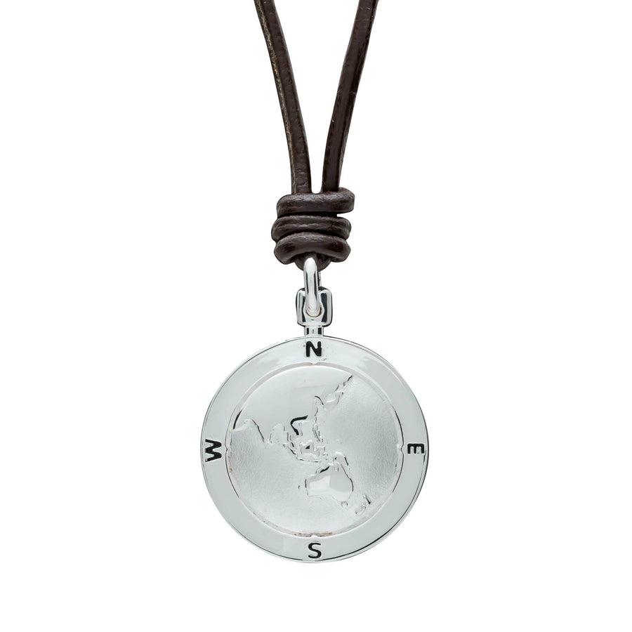 Mens leather and silver Saint Christopher Pendant