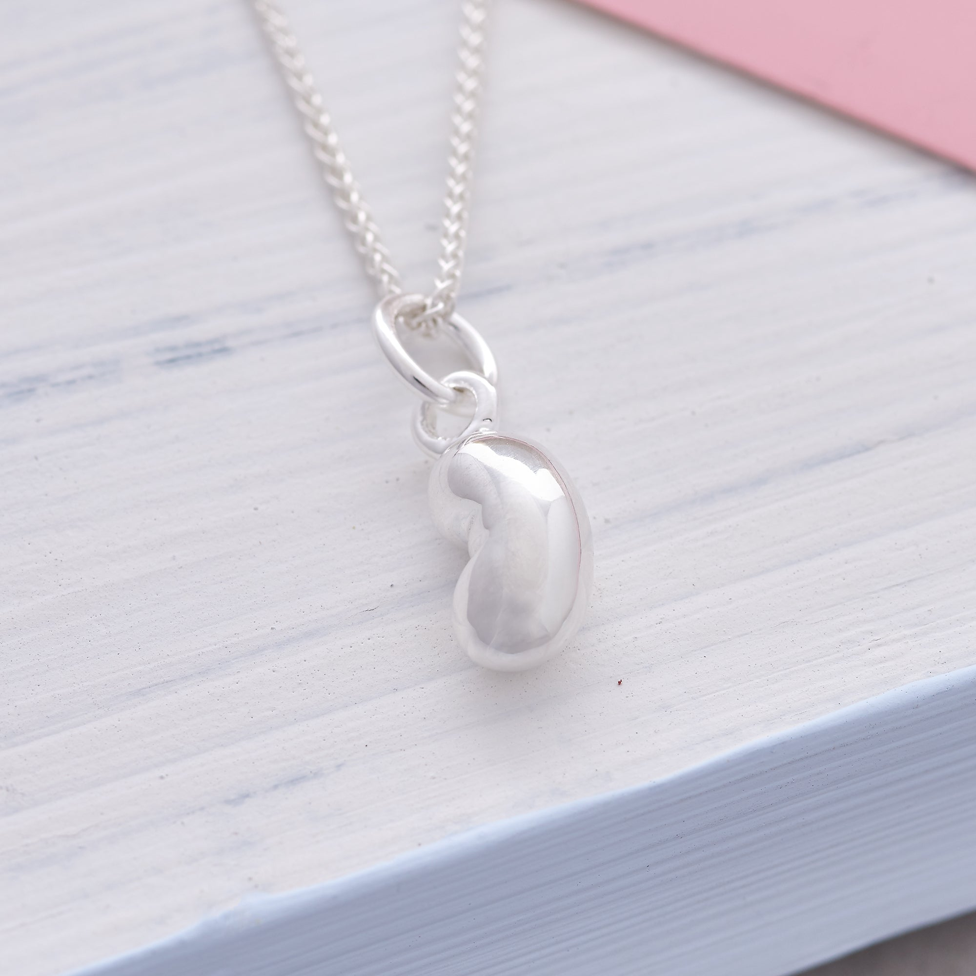 Baby Bean Silver Charm For Mum to Be Baby Scan Charm Necklace