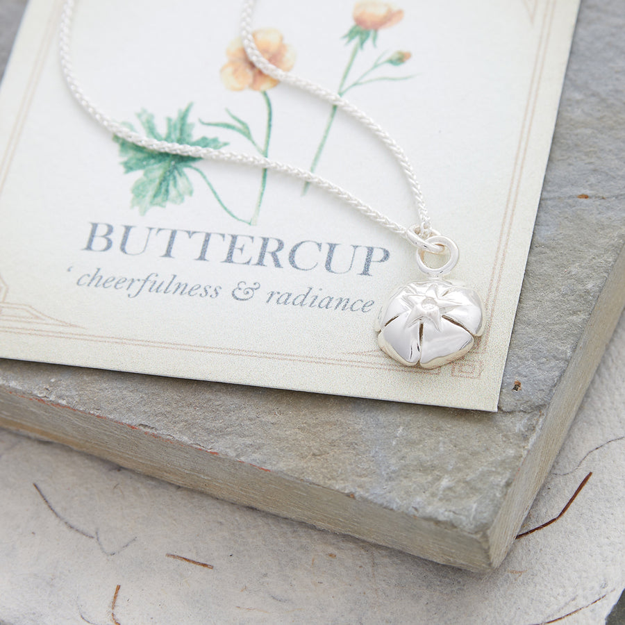 Solid silver buttercup bracelet necklace charm Scarlett Jewellery