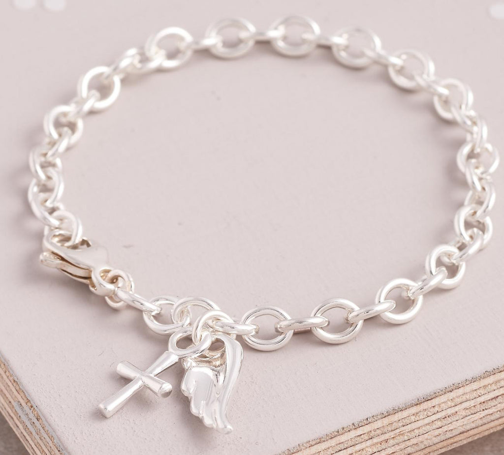 Silver angel wing and cross christening charm bracelet Scarlett Jewellery