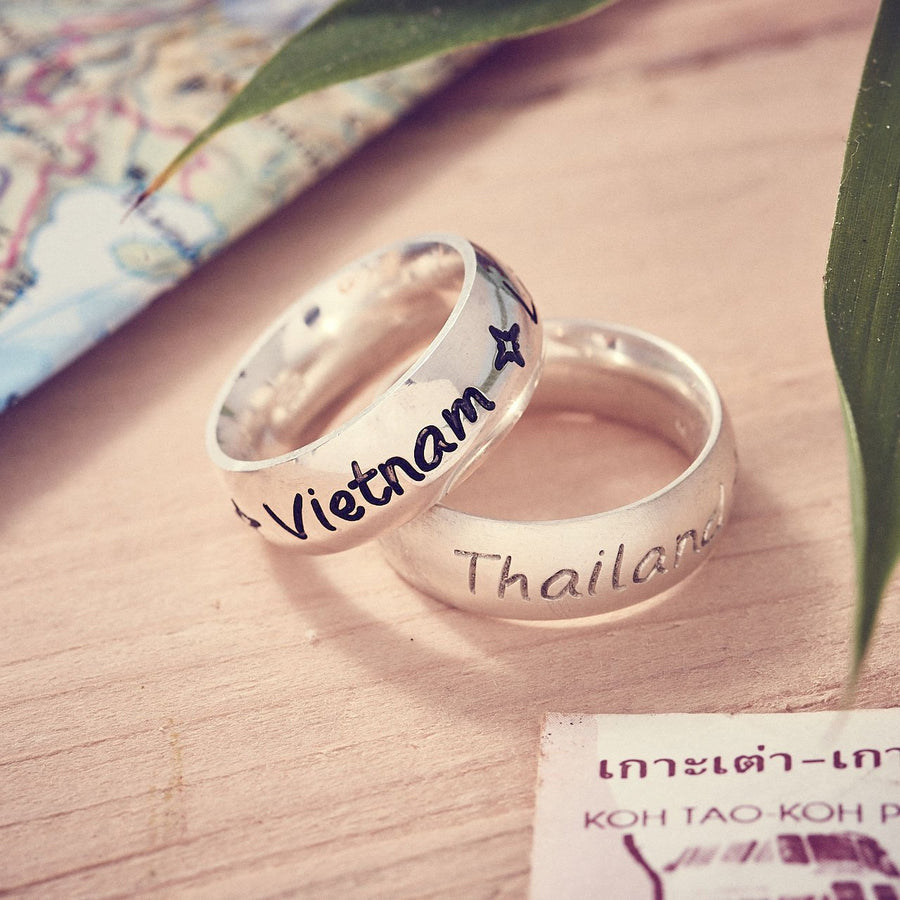 Travel gift ideas for a man, engraved chunky silver ring with country destinations