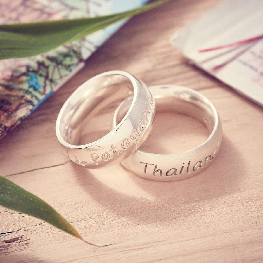Personalised Silver Mens and Womens Chunky Rings, a unique travel gift
