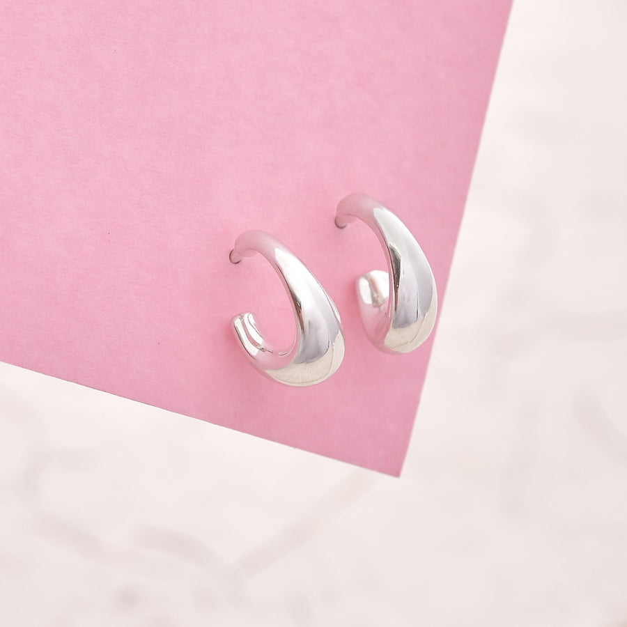 Scarlett Jewellery small huggy silver hoops made from recycled sterling silver