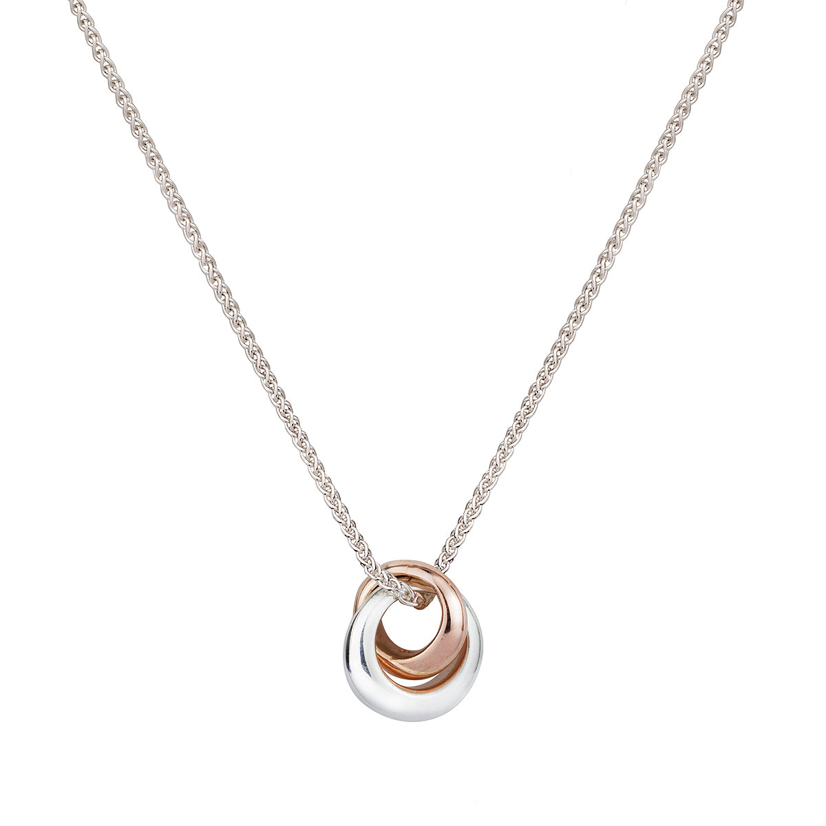 Silver and rose gold Eclipse Loops Circles Russian Style Necklace Scarlett Jewellery