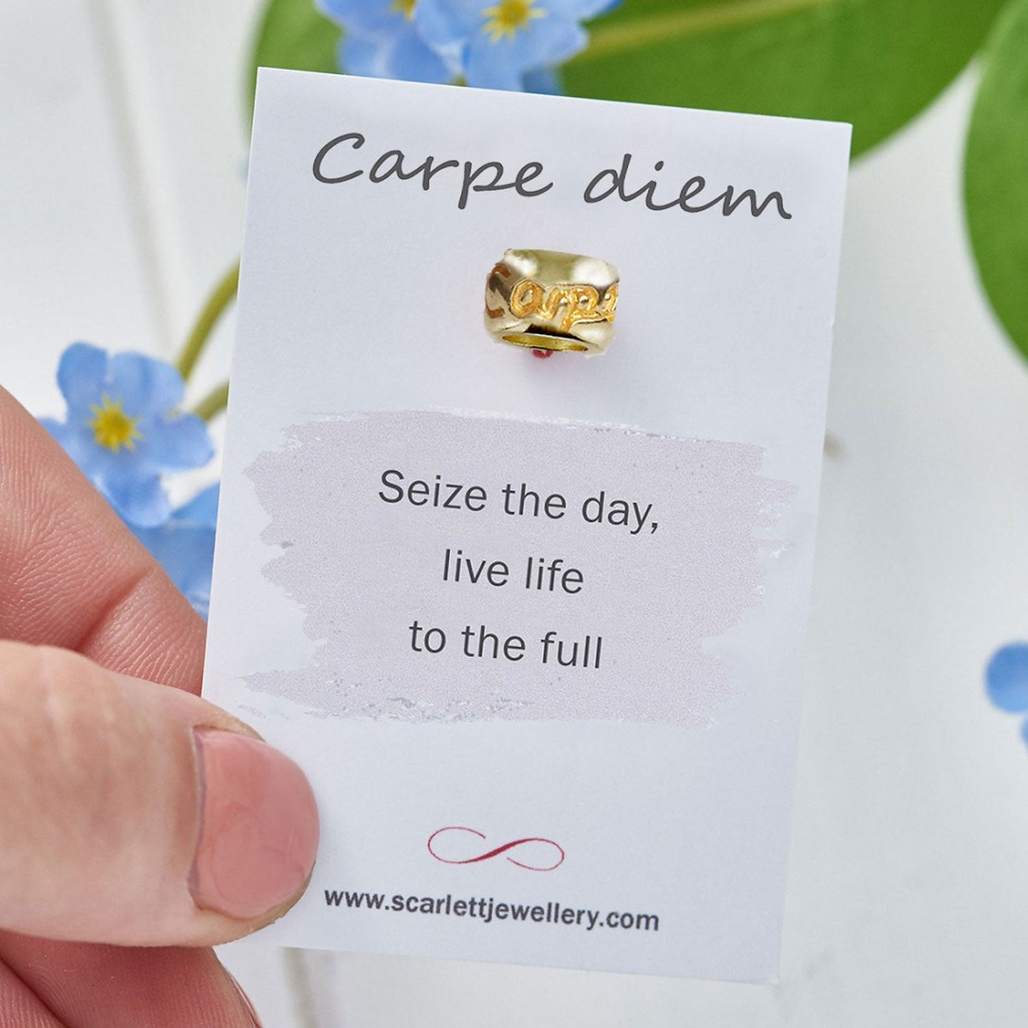 Carpe Diem seize the day engraved solid gold charm bead fits pandora