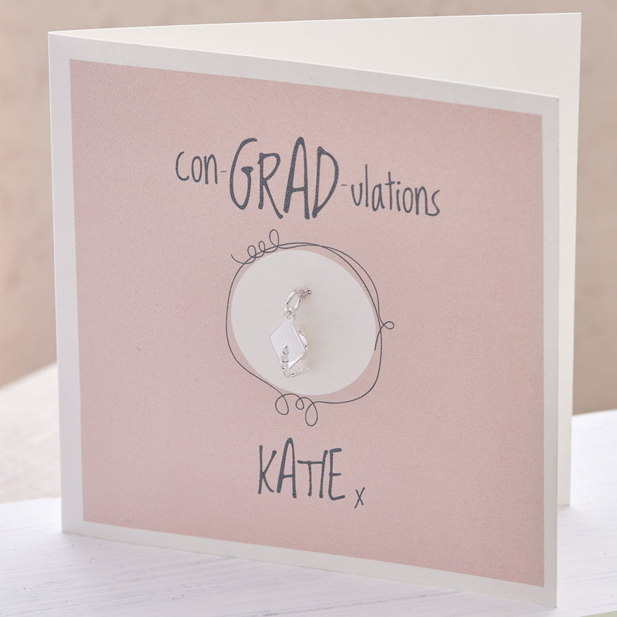 Mortar Board Charm Personalised Graduation Gift Card Scarlett Jewellery