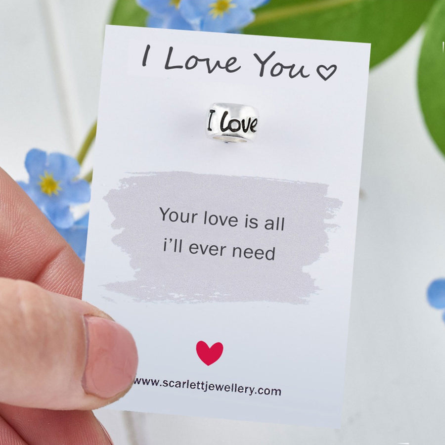 I Love You Silver Mojo Charm Bead Anniversary Wedding Gift