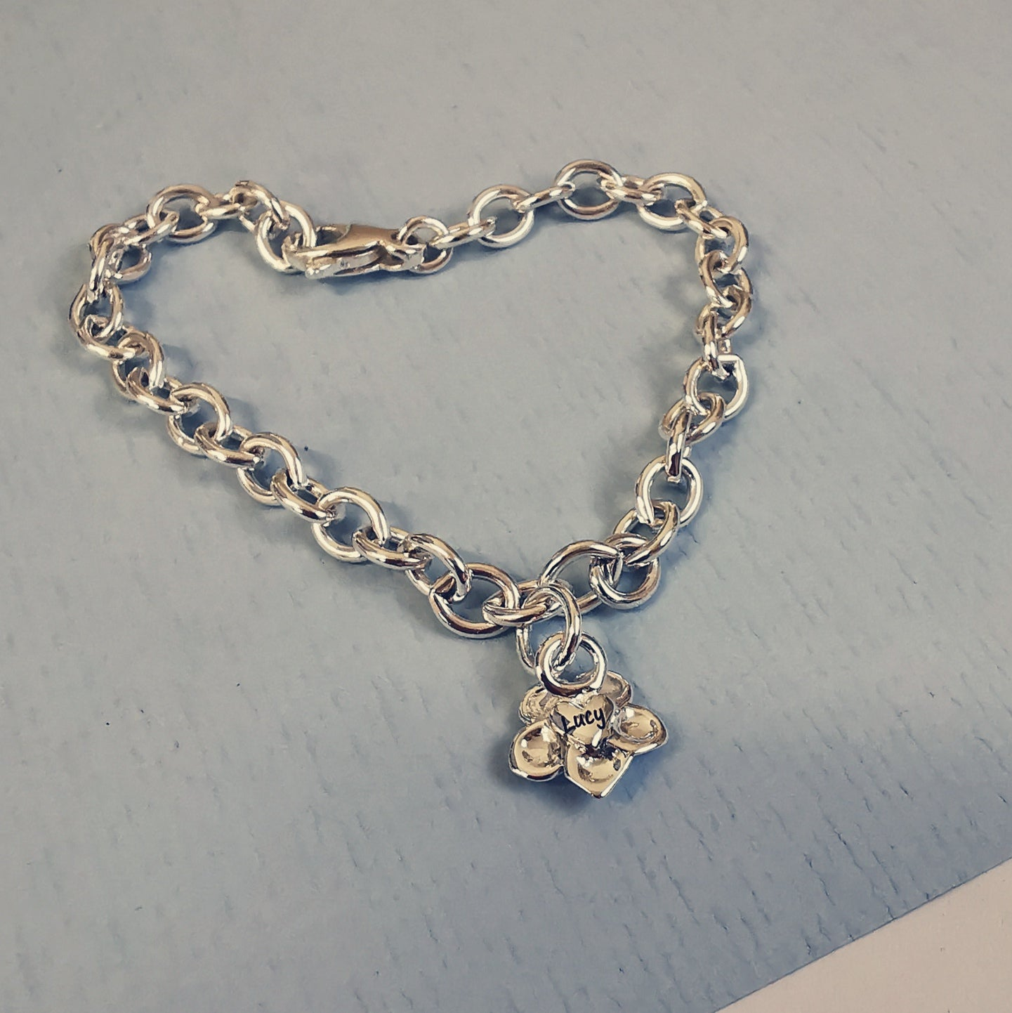 engraved forget me not memorial charm bracelet for loss