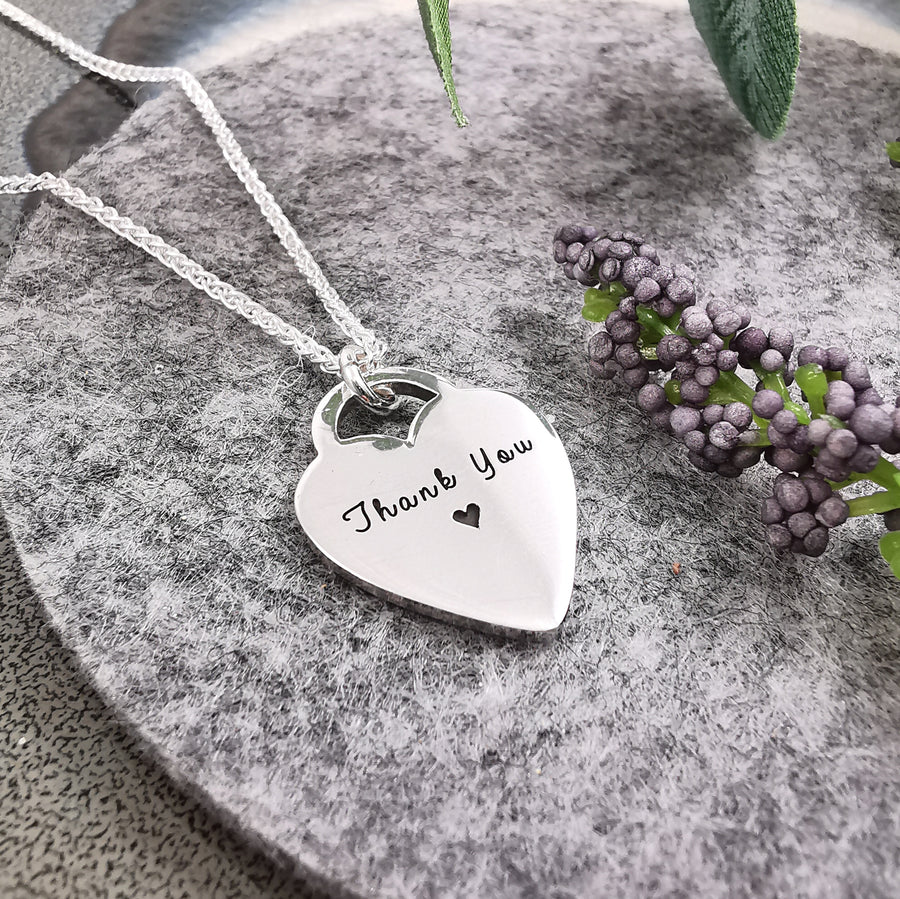 tiffany style heart pendant tag engraved custom personalised