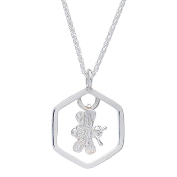 silver hexagon honey comb bee necklace scarlett jewellery