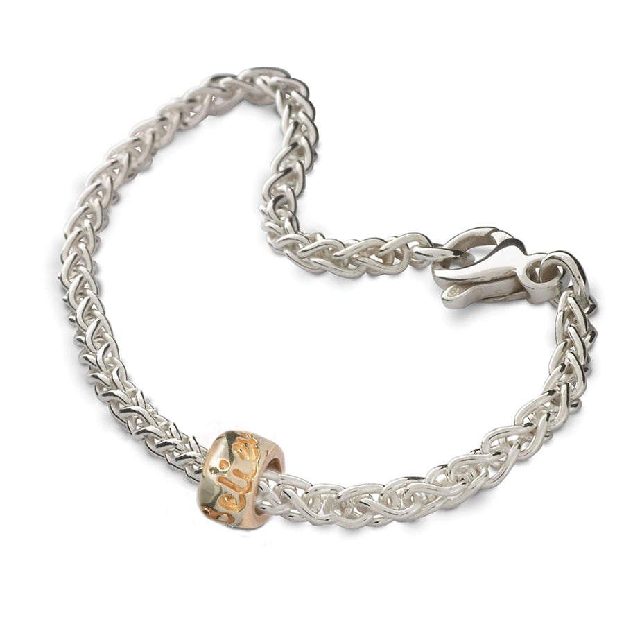 Personalised silver gold or rose gold charm bead engraved bracelet recycled silver made in UK
