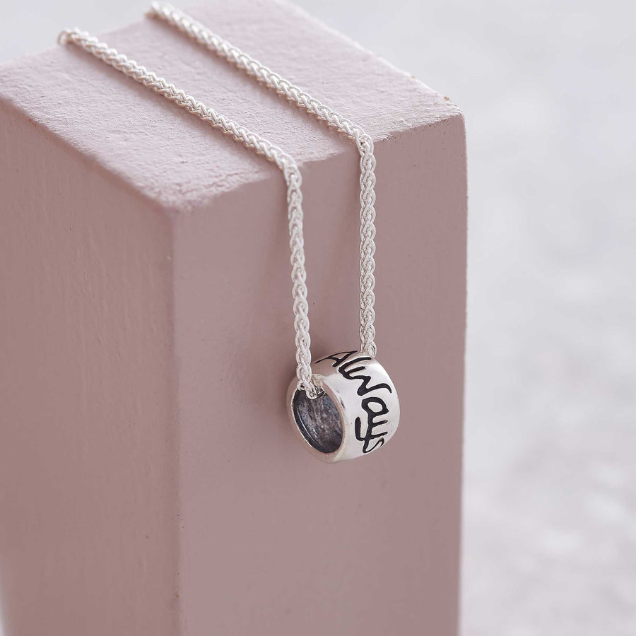 Always In My Heart Engraved Silver Charm Necklace Scarlett Jewellery