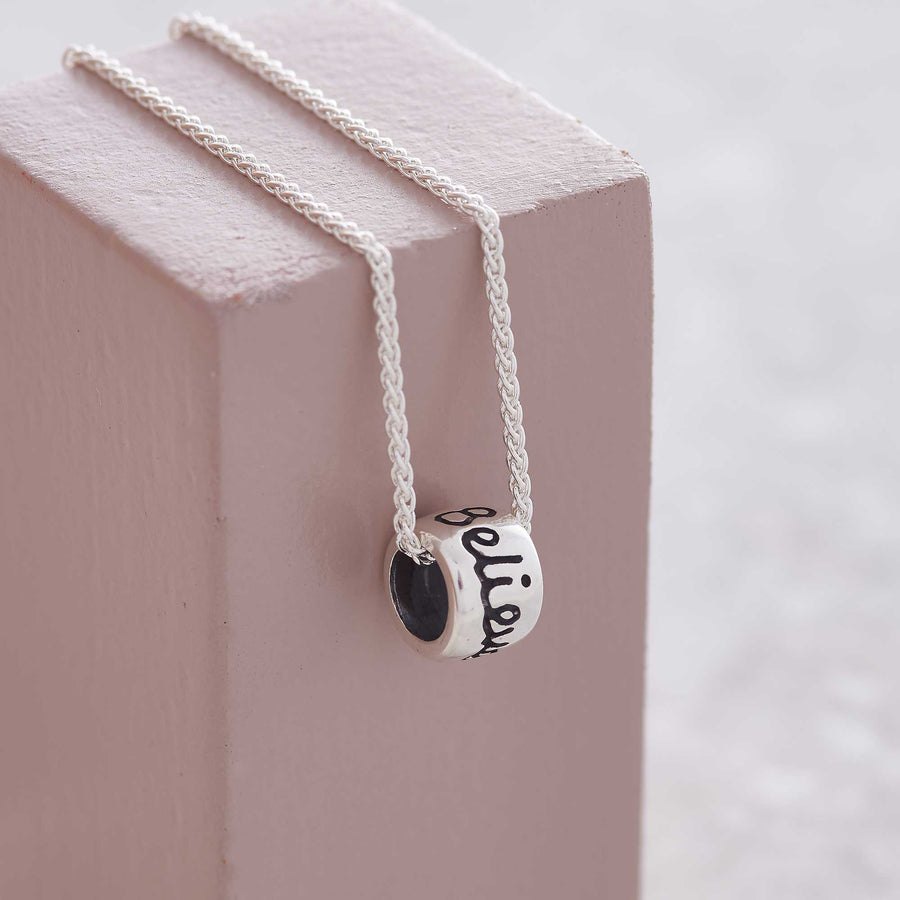 Believe and dream silver charm bead necklace Scarlett Jewellery