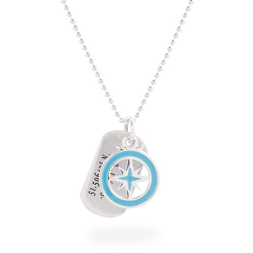 dog tag with travel coordinates engraved with compass enamel pendant mens gift necklace