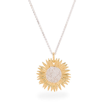 silver gold vermeil sunflower necklace scarlett jewellery