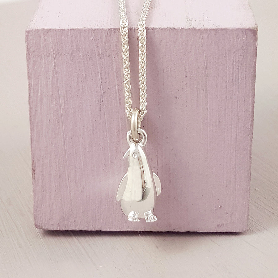 Silver Penguin Bracelet Charm Necklace with perfect detail free UK delivery