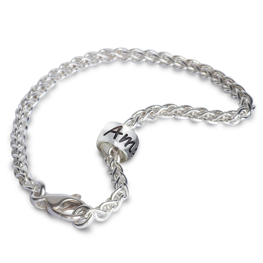 Personalised silver charm bead engraved bracelet recycled silver made in UK