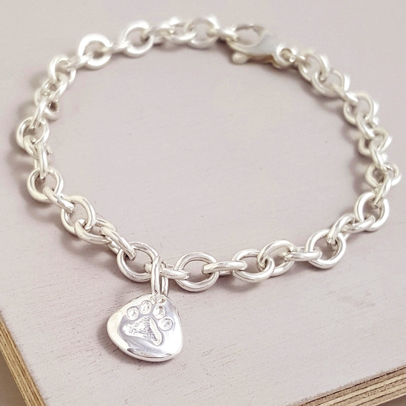 Pet Paw Print Personalised Silver Charm Bracelet Engraved Pets Name