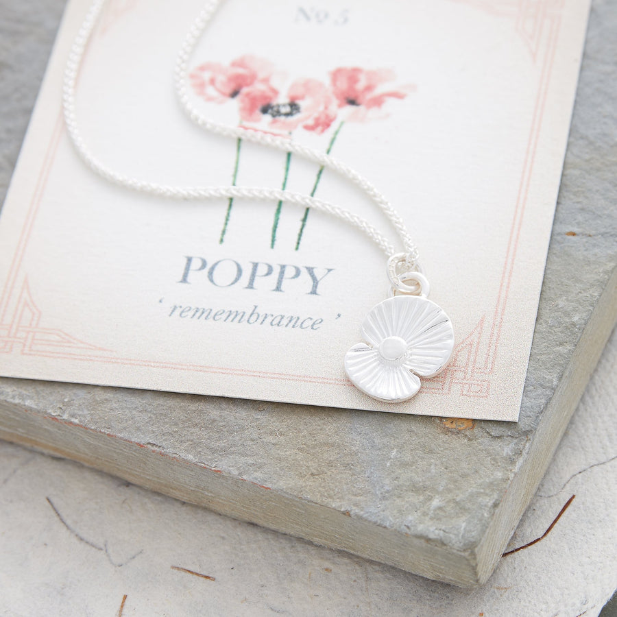 poppy flower charm solid silver