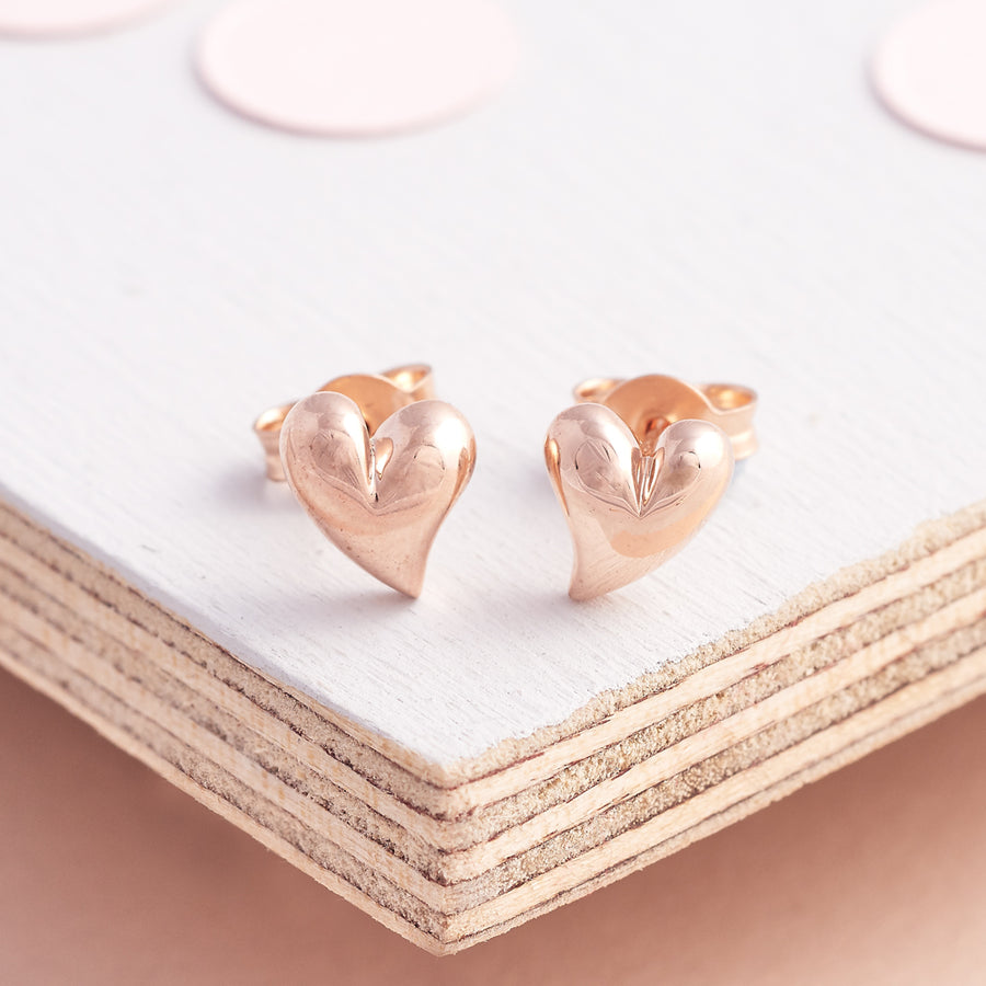 9 carat solid rose gold heart stud earrings for pierced ears Scarlett Jewellery