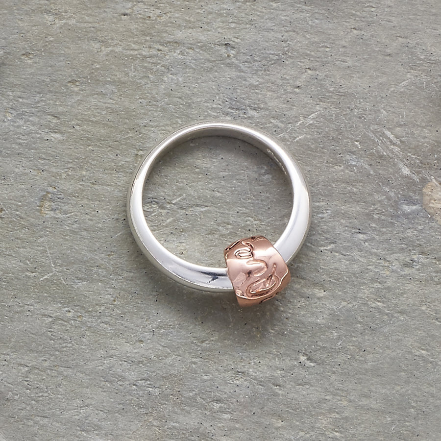 Que Sera Silver & rose gold Worry bead Ring unique designer Scarlett Jewellery