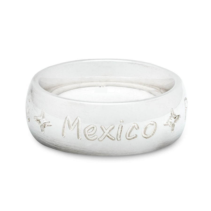 Round the world engraved destination ring for men, unusual travel gift