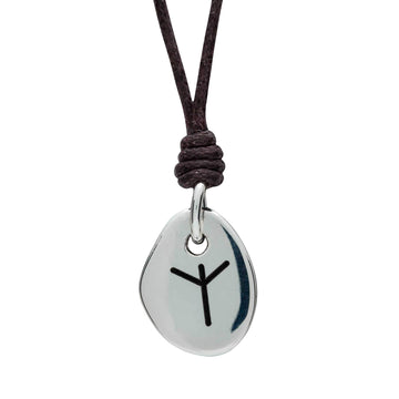 Travel Rune Aligz Protection - Silver & Leather pendant for men & women - ideal travel gif