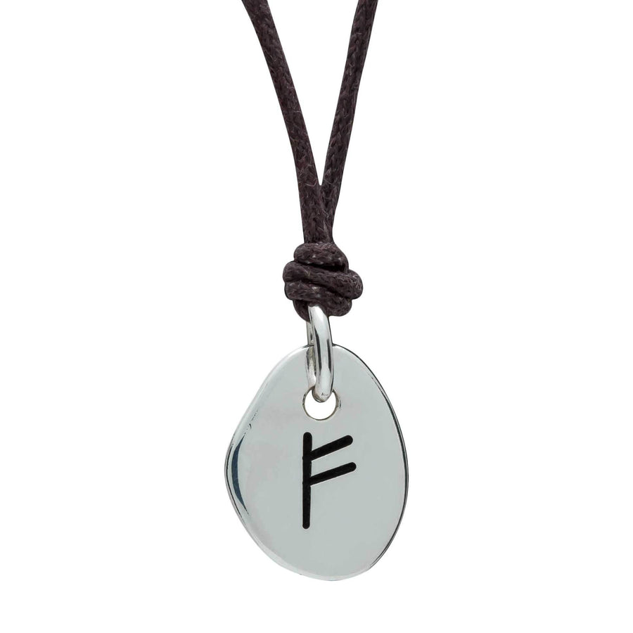 Travel Rune Fehu Freedom Silver & Leather pendant for men & women - ideal travel gift