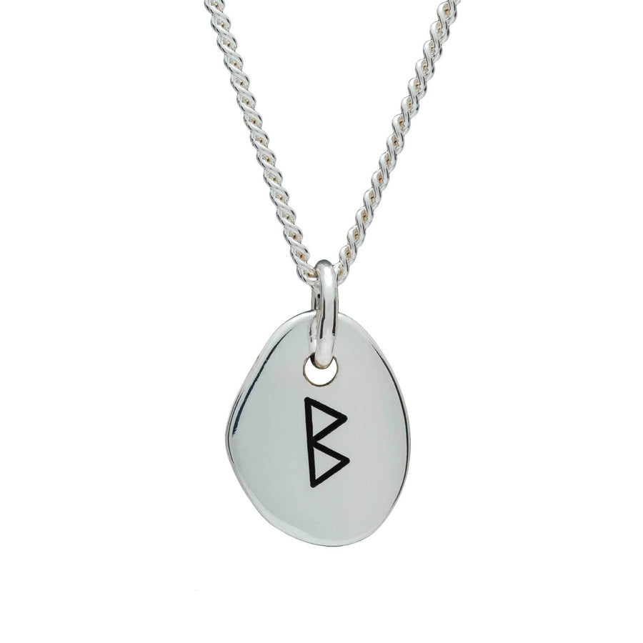 Travel Rune Berkano New Beginnings - Silver pendant for men & women - ideal travel gift