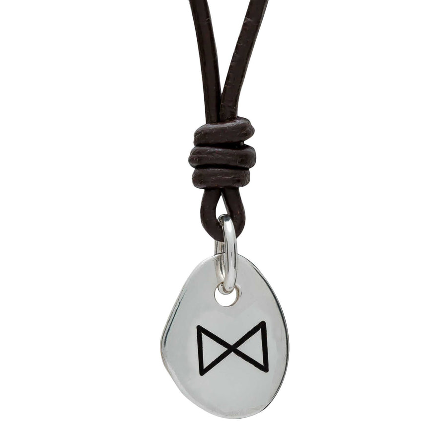 Rune Dagaz Protection- Silver & Leather pendant for men & women - ideal travel gift