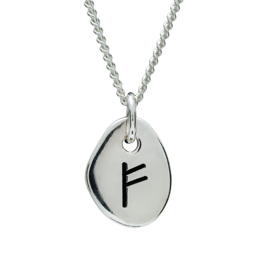 Travel Rune Fehu Freedom - Silver pendant for men & women - ideal travel gift