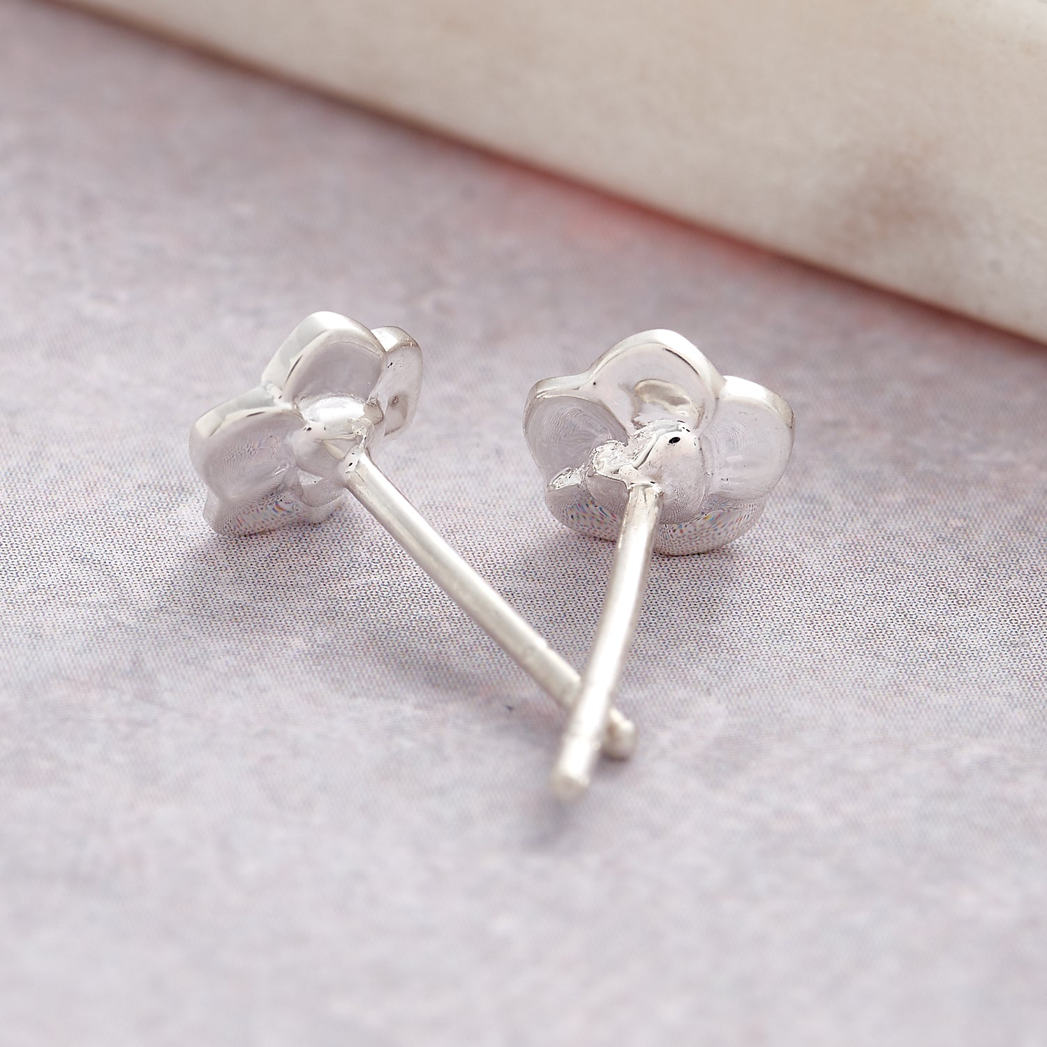 heart on back of tiny silver forget me not flower stud earrings for women and girls scarlett jewellery brighton
