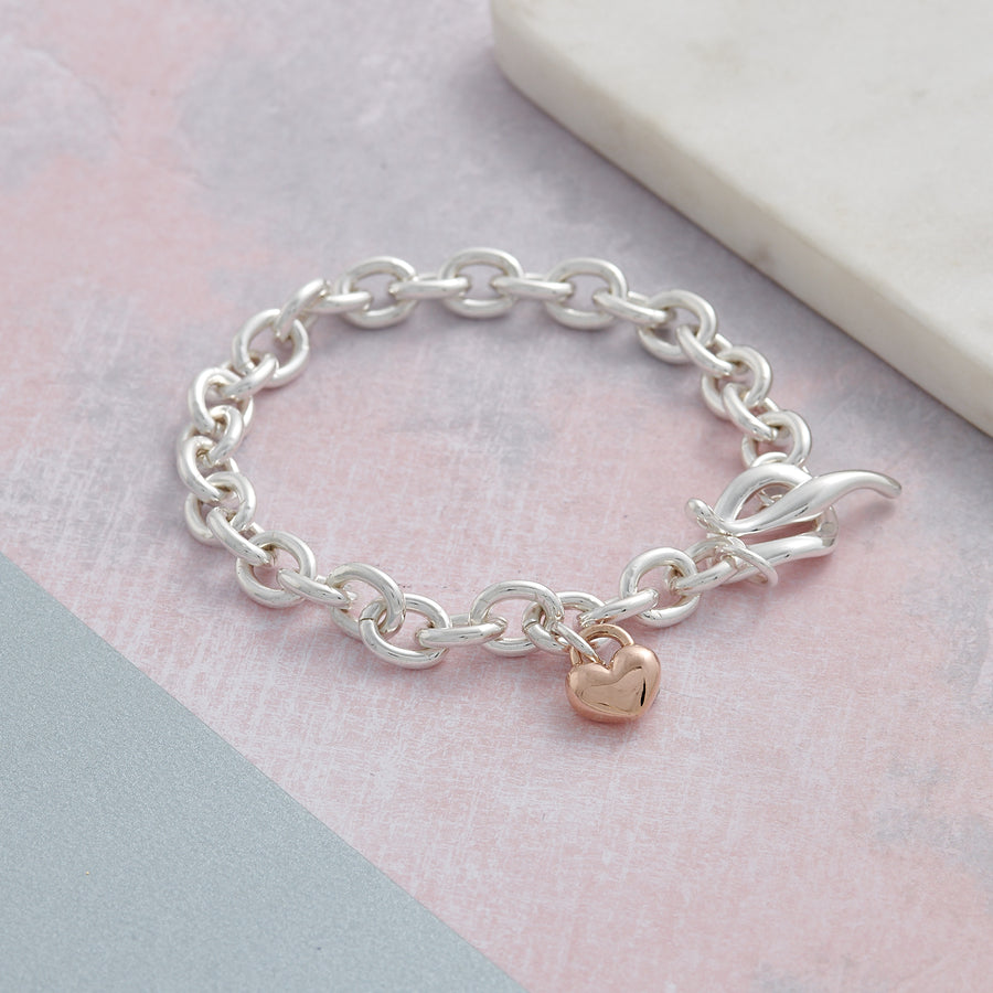 Solid sterling silver and solid rose gold heart traditional T-bar charm bracelet designer Scarlett Jewellery